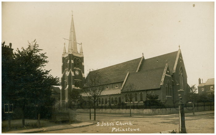 Postcard front: S. John's Church, Felixstowe.