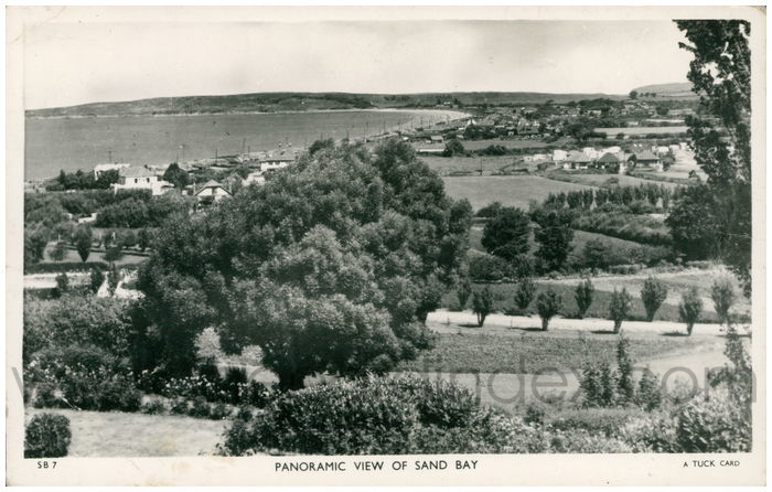 Postcard front: Panoramic View of Sand Bay
