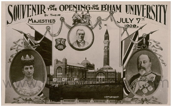 Postcard front: Souvenir of the Opening of the B'ham University by their Majesties July 7th 1909