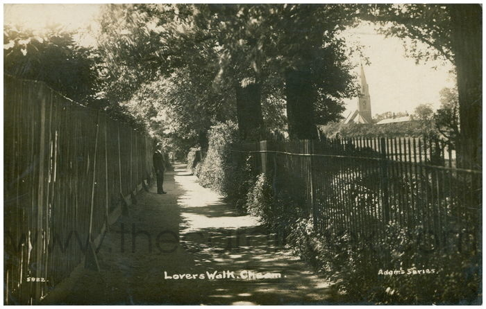 Postcard front: Lovers Walk. Cheam