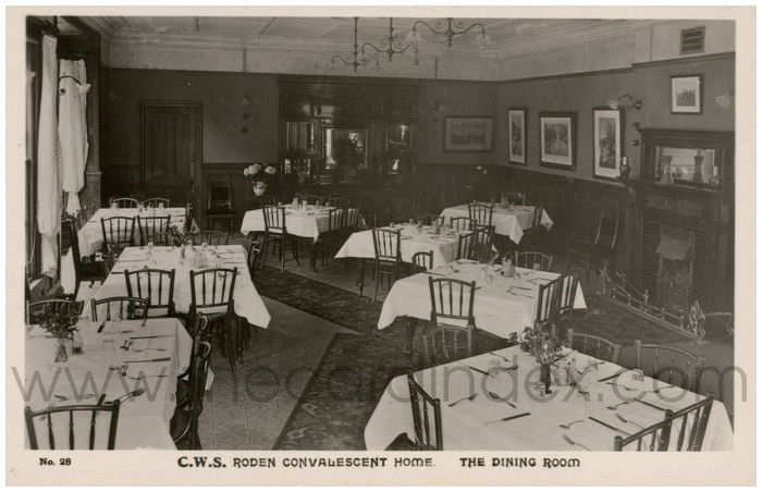 Postcard front: Roden Convalescent Home The Dining Room