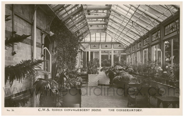 Postcard front: Roden Convalescent Home. The Conservatory.