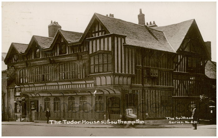 Postcard front: The Tudor Houses, Southampton