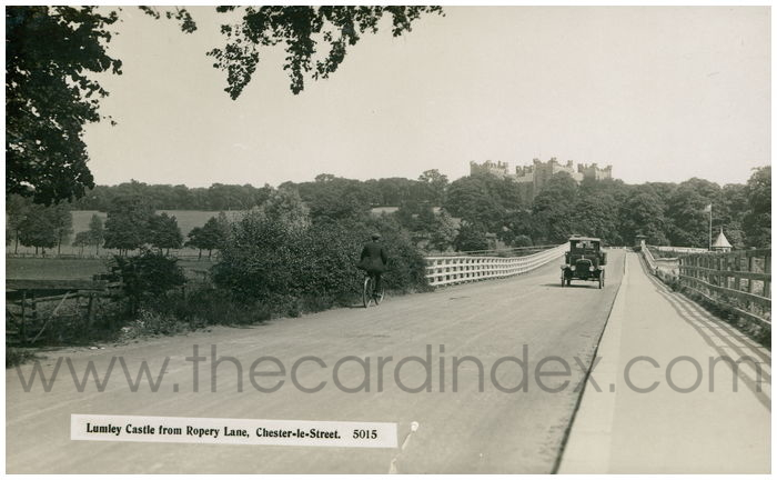 Postcard front: Lumley Castle from Ropery Lane, Chester-le-Street