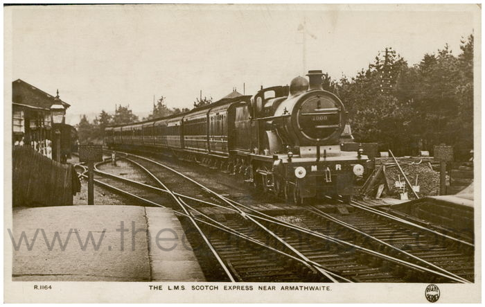 Postcard front: The L.M.S. Scotch Express near Armathwaite
