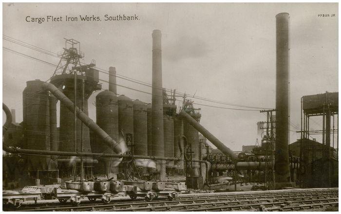 Postcard front: Cargo Fleet Iron Works, Southbank.