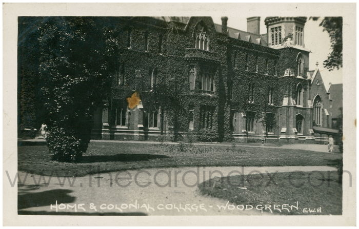 Postcard front: Home & Colonial College - Wood Green