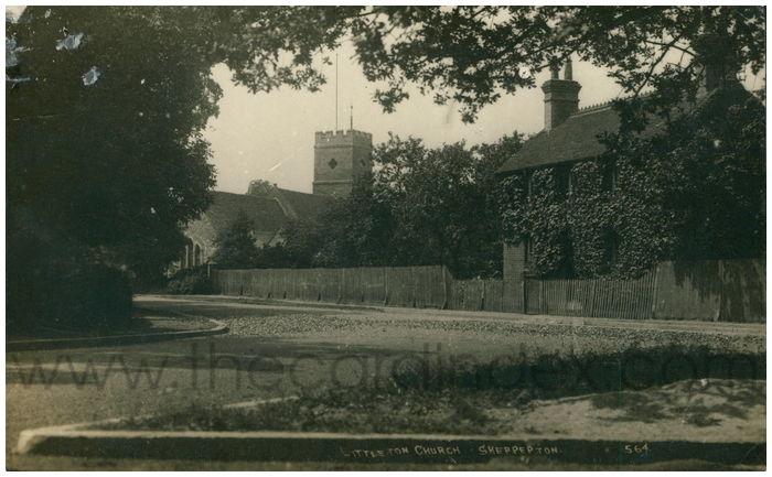 Postcard front: Littleton Church, Shepperton