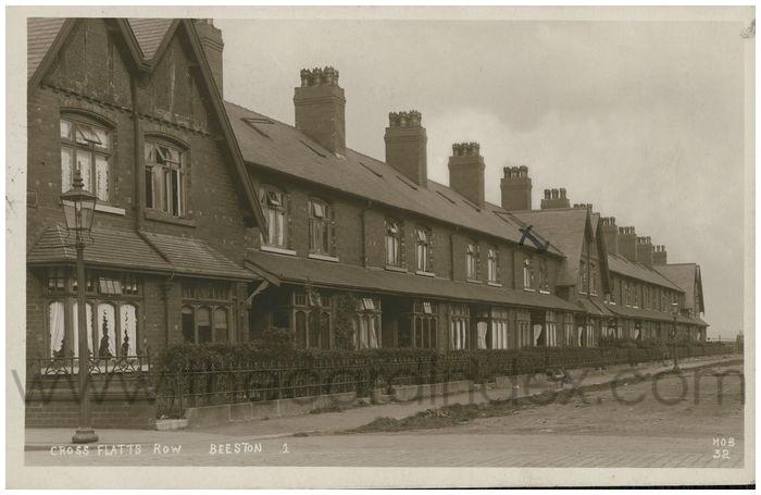 Postcard front: Cross Flatts Row Beeston