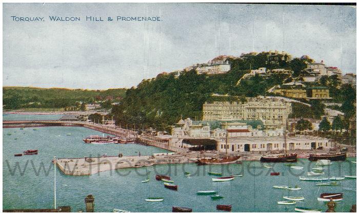 Postcard front: Torquay. Waldon Hill & Promenade.