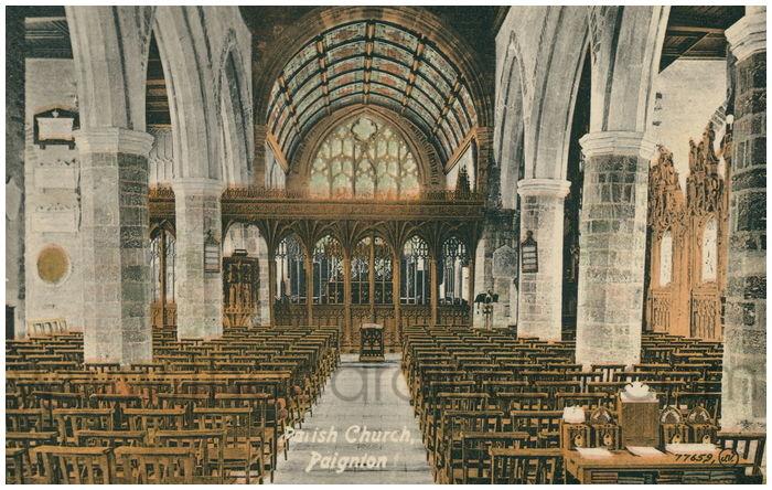 Postcard front: Parish Church, Paignton