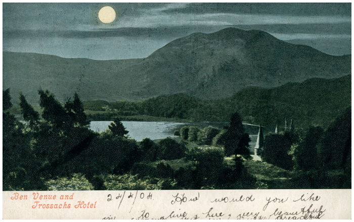 Postcard front: Ben Venue and Trossachs Hotel