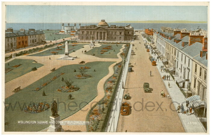 Postcard front: Wellington Square and County Buildings, Ayr