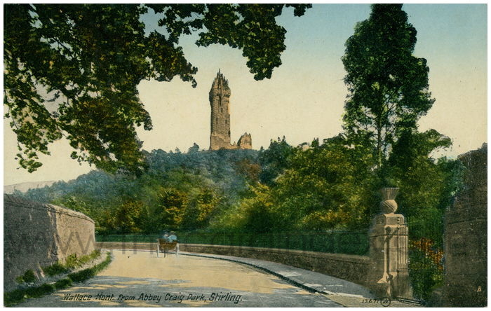 Postcard front: Wallace Mont. from Abbey Craig Park Stirling.