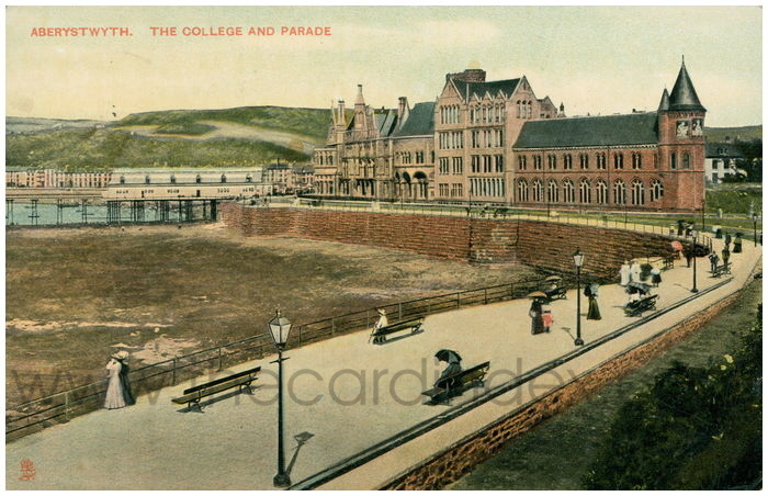 Postcard front: Aberystwyth. The College and Parade