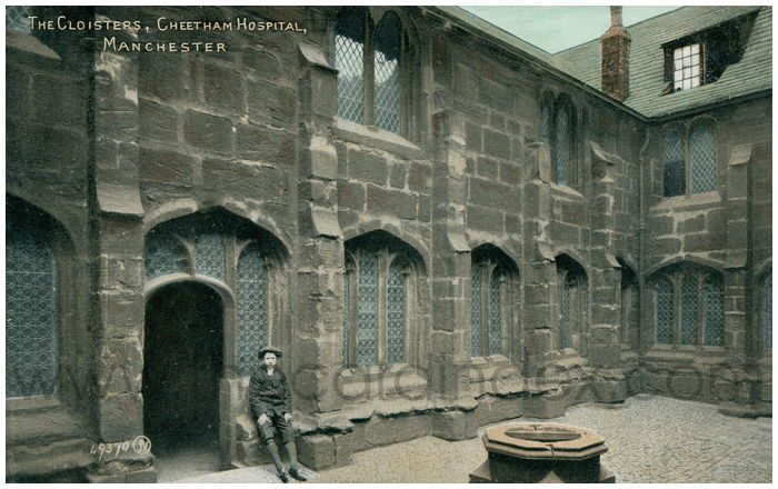 Postcard front: The Cloisters, Cheetham Hospital, Manchester