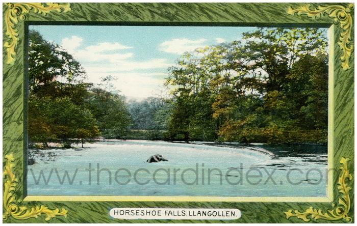 Postcard front: Horseshoe Falls. Llangollen.