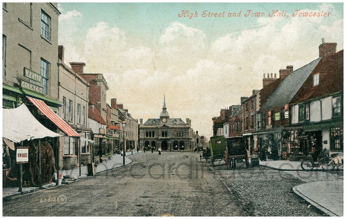 Postcard front: High Street and Town Hall, Towcester