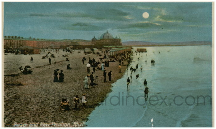 Postcard front: Beach and New Pavilion, Rhyl.