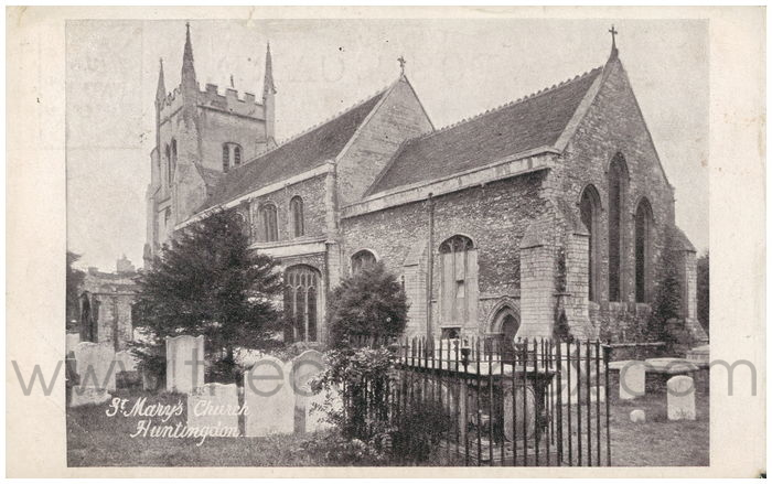 Postcard front: St. Mary's Church, Huntingdon.