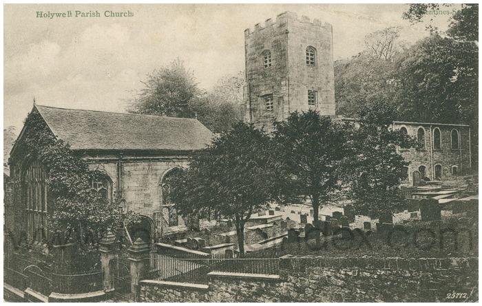 Postcard front: Holywell Parish Church