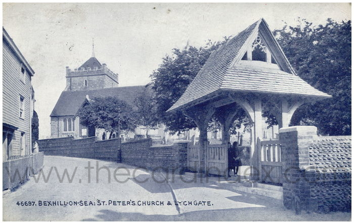 Postcard front: Bexhill-on-Sea: St. Peter's Church & Lych Gate.