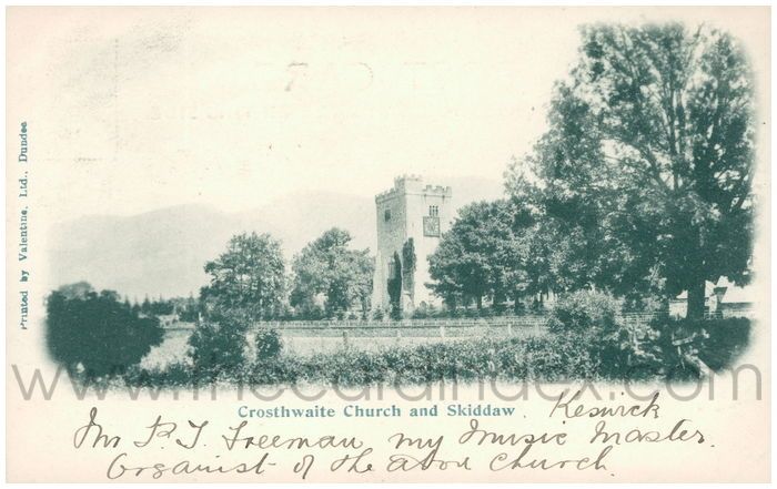 Postcard front: Crosthwaite Church and Skiddaw