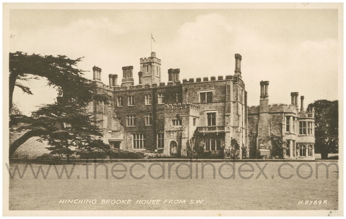 Postcard front: Hinching Brooke House from S.W.