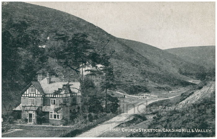Postcard front: Church Stretton: Carding Mill & Valley
