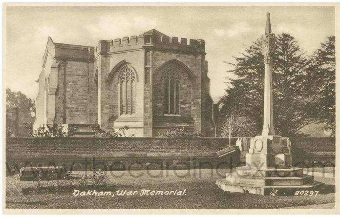 Postcard front: Oakham War Memorial.