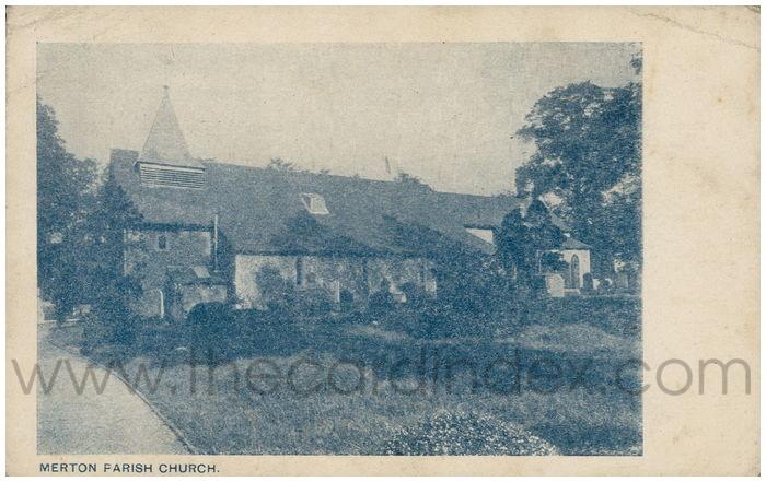 Postcard front: Merton Parish Church.