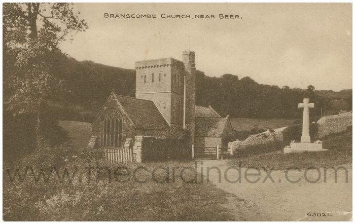 Postcard front: Branscombe Church, Near Beer.