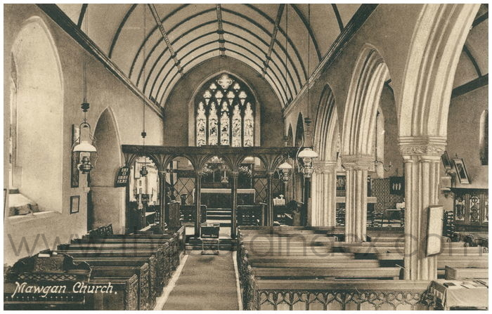 Postcard front: Mawgan Church.