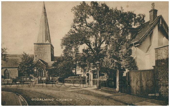 Postcard front: Godalming Church