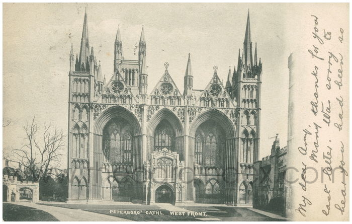 Postcard front: Peterboro' Cathl. West Front.