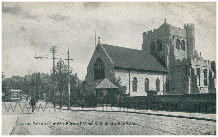 Postcard front: Bexhill-on-Sea: Roman Catholic Church and Sea Road