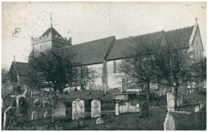 Postcard front: St. Peter's Church, Bexhill-on-Sea.