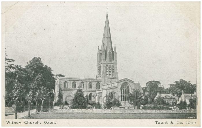 Postcard front: Witney Church, Oxon.