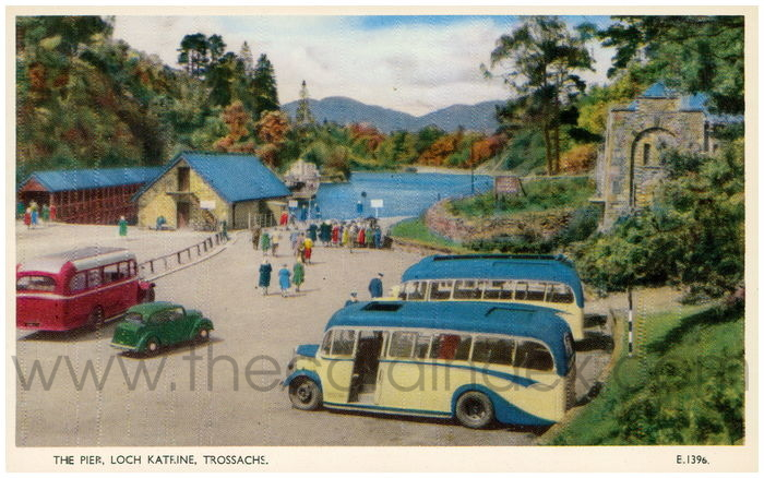 Postcard front: The Pier, Loch Katrine, Trossachs.