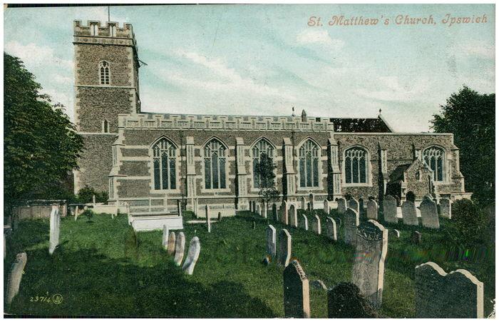 Postcard front: St. Matthew's Church, Ipswich