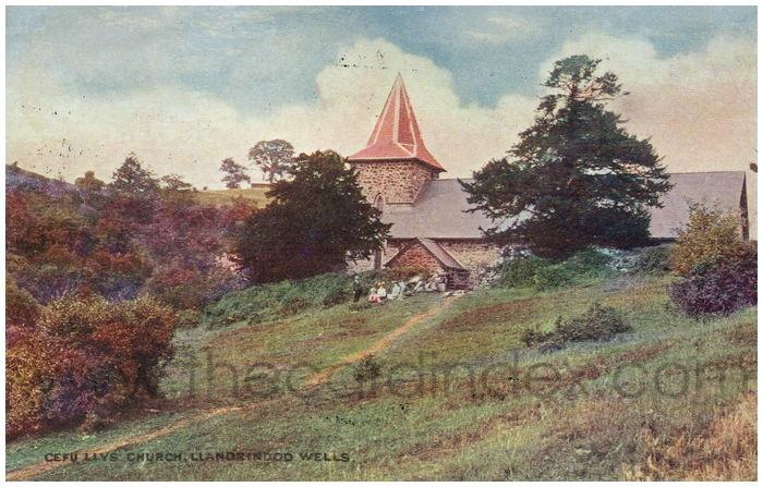 Postcard front: Cefu Llys Church, Llandrindod Wells.