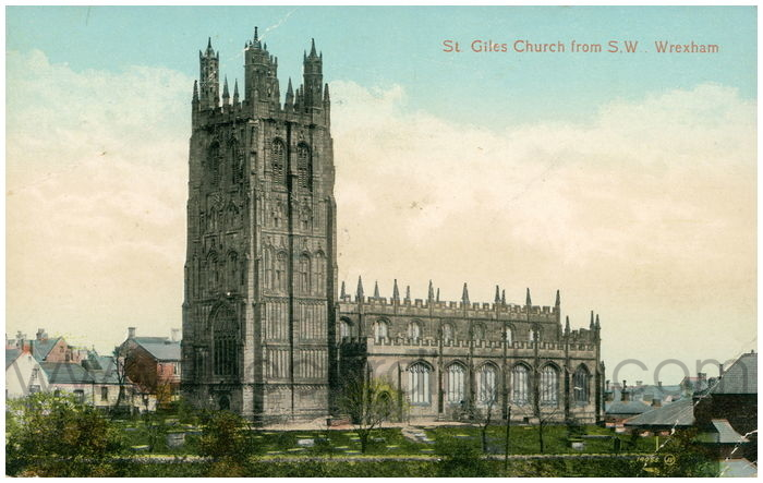 Postcard front: St. Giles Church from S.W., Wrexham