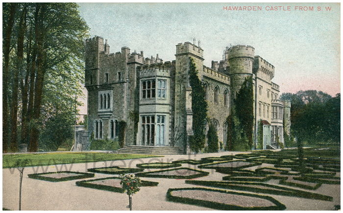 Postcard front: Hawarden Castle from S.W.