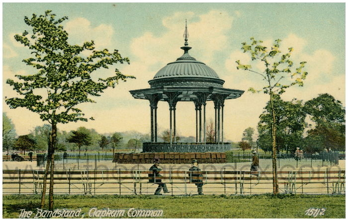 Postcard front: The Bandstand, Clapham Common
