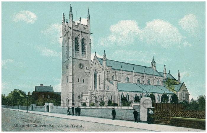Postcard front: All Saints' Church, Burton on Trent