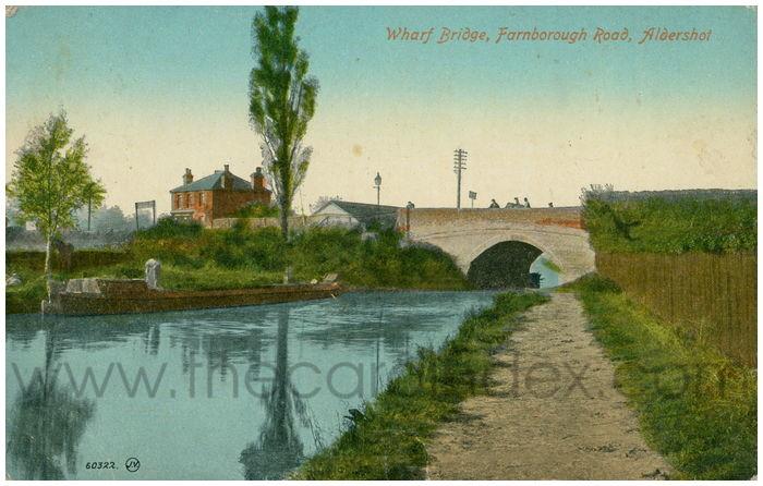 Postcard front: Wharf Bridge, Farnborough Road, Aldershot