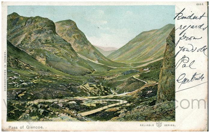 Postcard front: Pass of Glencoe.