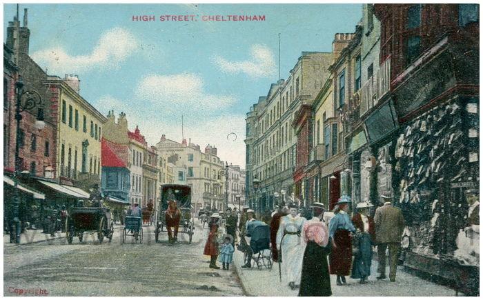 Postcard front: High Street. Cheltenham