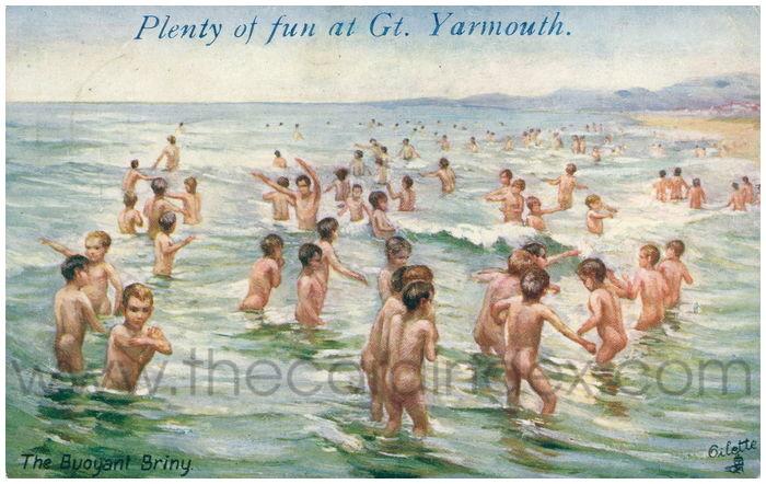 Postcard front: Plenty of fun at Gt. Yarmouth. The Buoyant Briny.