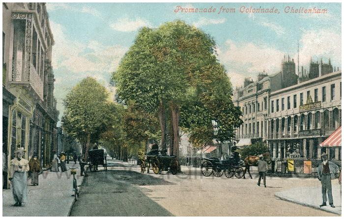 Postcard front: Promenade from Collonnade, Cheltenham